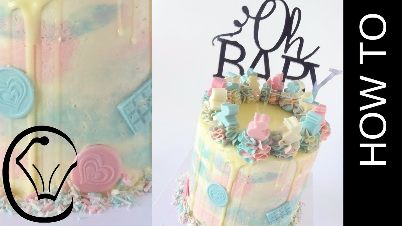 Gender Reveal Cake For Twins Homemade Chocolate Cake Sprinkle Mix