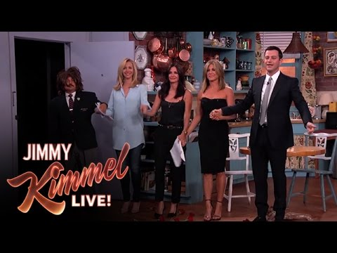 "Jennifer Aniston, Courteney Cox, Lisa Kudrow and Jimmy Kimmel in ""Friends"""