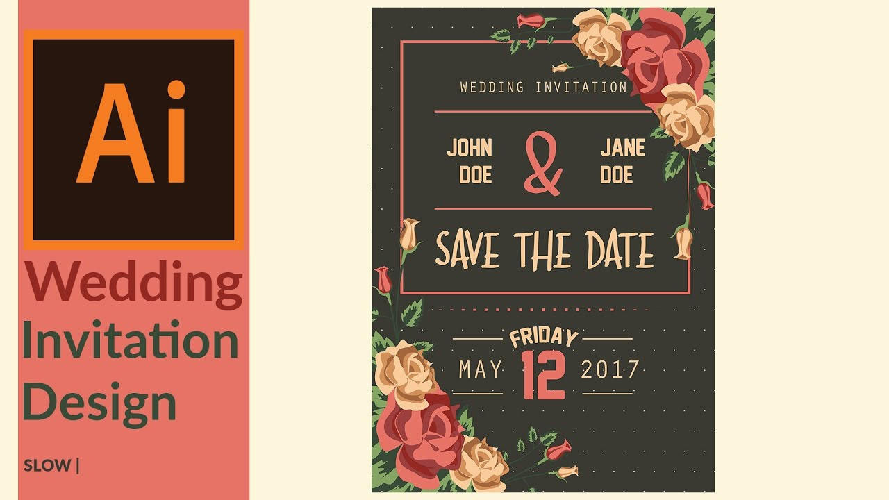 Modern wedding invitation designing in adobe illustrator - YouTube
