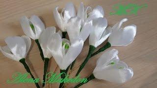 Подснежники. Весенние цветы Канзаши.