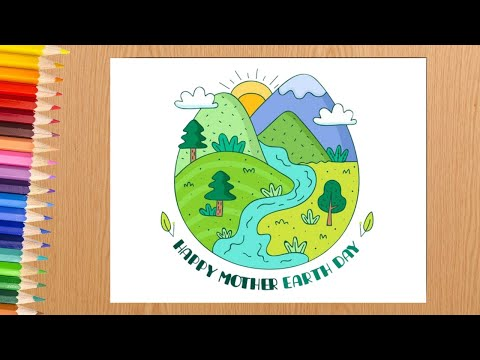 Earth day drawing / Mother Earth day drawing / Save environment drawing