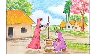 How to draw village scenery step by step / oil pastel painting