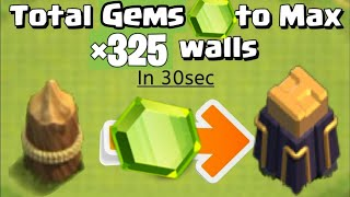 TOTAL GEMS TO MAX WALLS IN CLASH OF CLANS | COC NEW LEVEL 15 WALLS | #shorts | #cocshorts | #gems