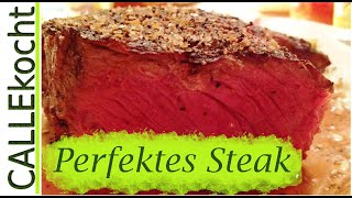 Steak richtig rosa braten. Rezept um bestes Rumpsteak zubereiten.