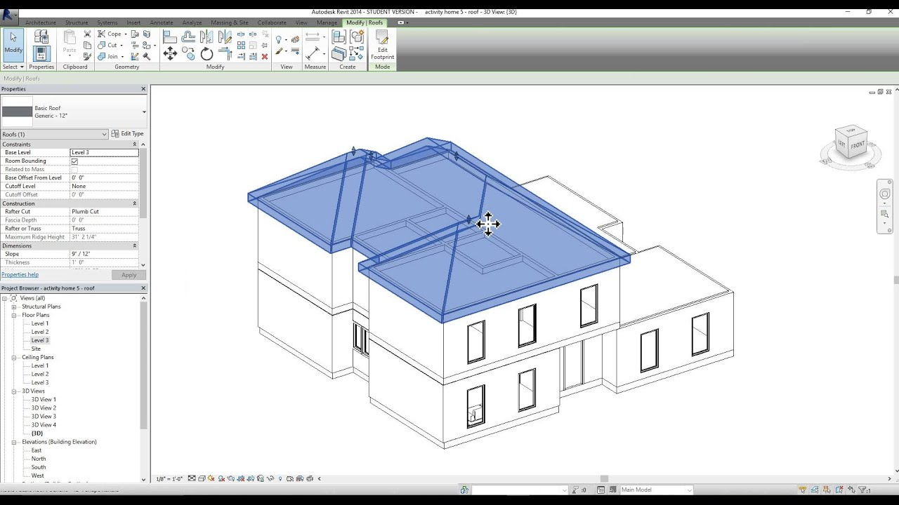 Adding A Roof In Revit Youtube