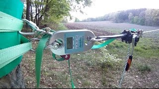 tensioning a longline (here 150m) with the lineGrip and lineTight (re-upload June 2nd 2014)
