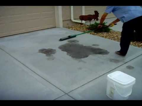 How to remove oil stains from a concrete driveway www for How to clean concrete floors before staining