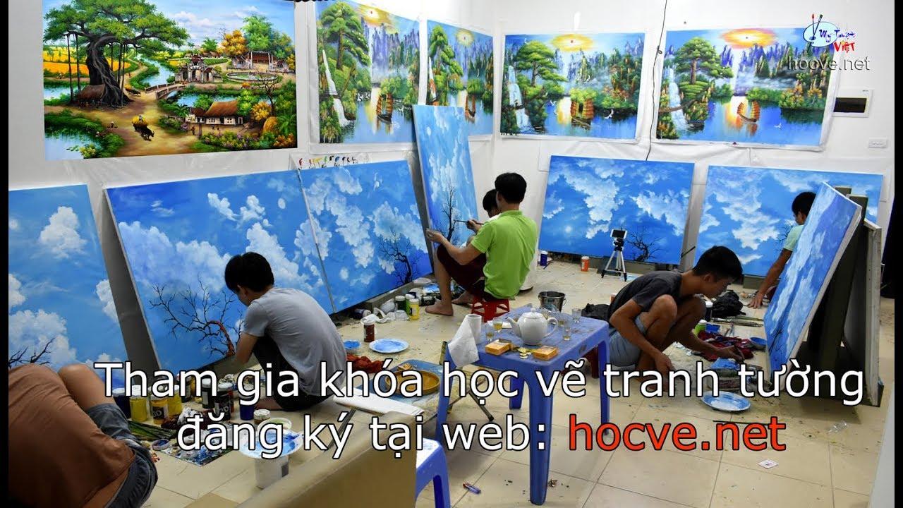 Hướng dẫn vẽ tranh trần mây 3d trên toan, học viên khóa K1, thi công vẽ trần mây 3d : 0969.033.288