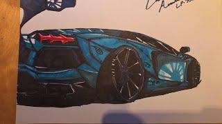 Drawing A Lamborghini Aventador LP-700 (LB Body Kit)