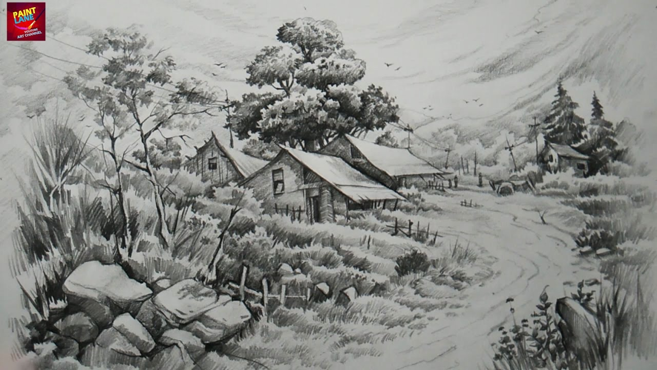 How To Draw and Shade A Landscape With Pencils By ...