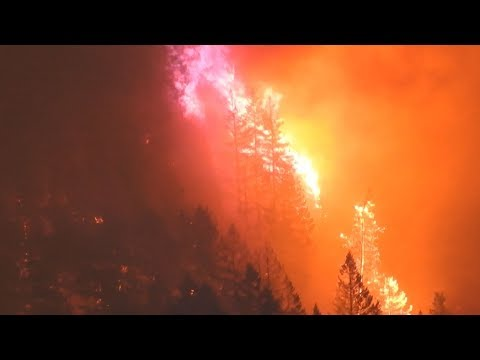 Eagle Creek Fire Raw footage 2017 Wild Fire Destroys Forest near Multnomah Falls Lodge