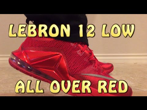 077b9ade385e4 Lebron 12 Low ALL OVER RED Review with ON FEET - YouTube