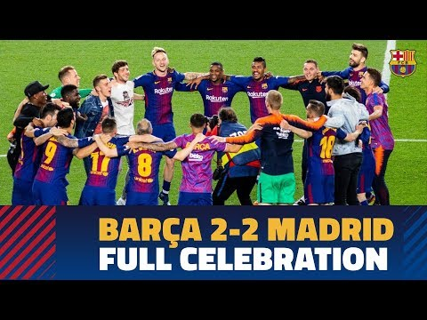 BARÇA 2-2 MADRID   Post-match celebrations at Camp Nou