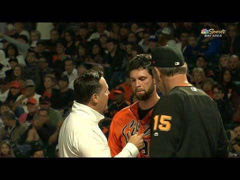ARI@SF: Belt shaken up after HBP, leaves game