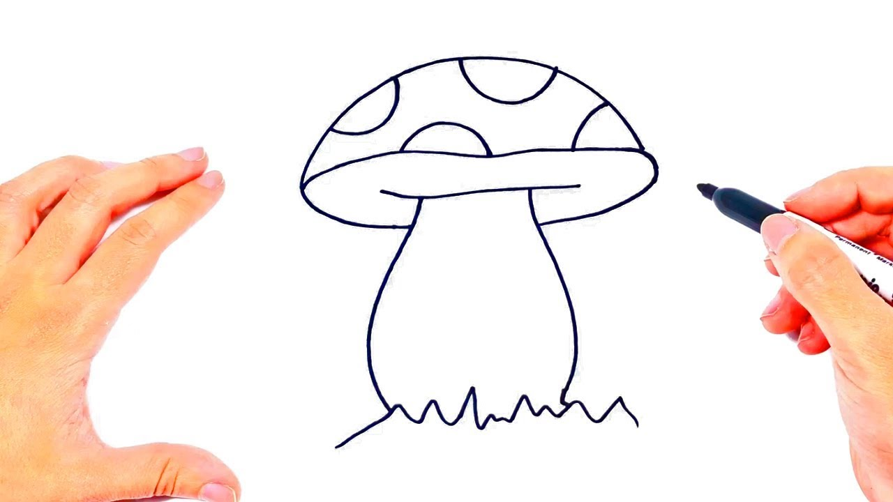 How to draw a Mushroom   Mushroom Easy Draw Tutorial