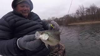 Crappie fishing warm water in a Power Plant Lake.