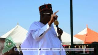 Gov. Kashim Shettima sings the NYSC anthem with corps members