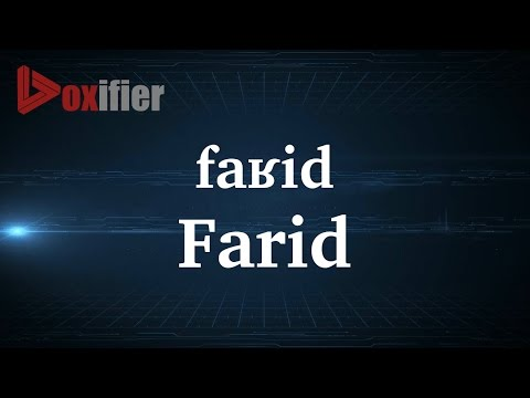 How to Pronunce Farid in French - Voxifier.com