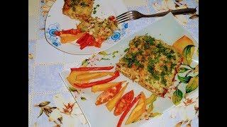 ..Запеканка из тертого картофеля, куриной грудки и овощей.