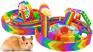 DIY - How To Build Race Track Maze Around Fish Pond For Hamster From Magnetic Balls (Satisfying)