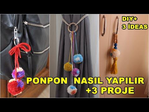 PONPON YAPIMI VE 3 KENDİN YAP FİKRİ/KENDİN YAP VİDEOLARI/DIY+3 İDEAS
