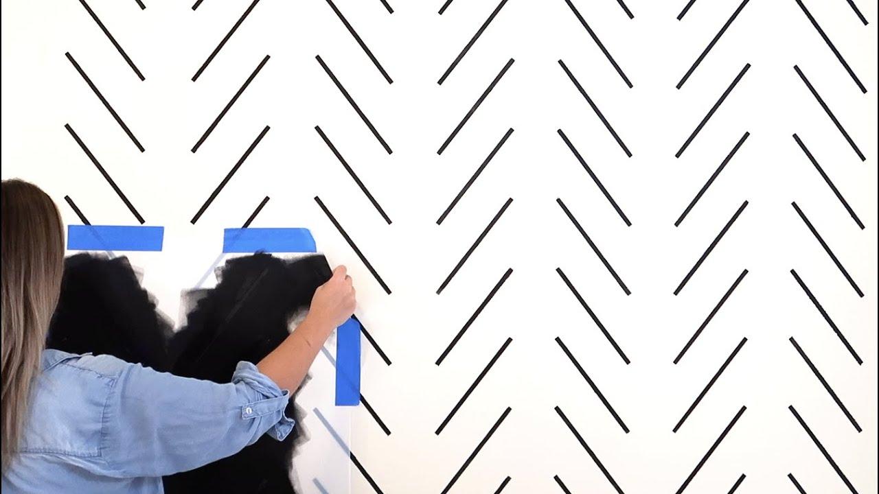 how to stencil a herringbone wall pattern for modern boho room