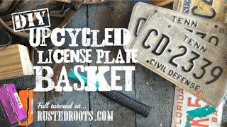 DIY Upcycled License Plate Basket
