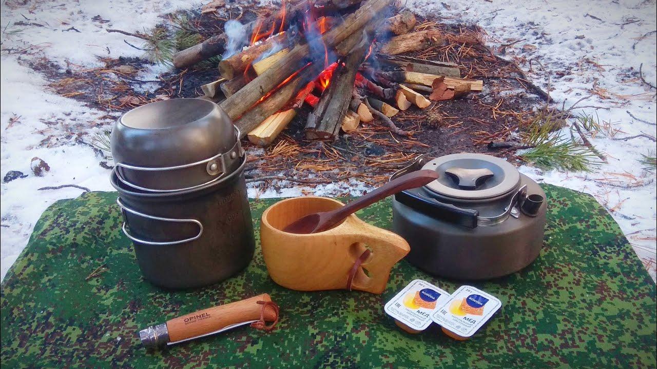 Однодневный одиночный поход. Полевая кухня: Чечевичный суп в зимнем лесу.