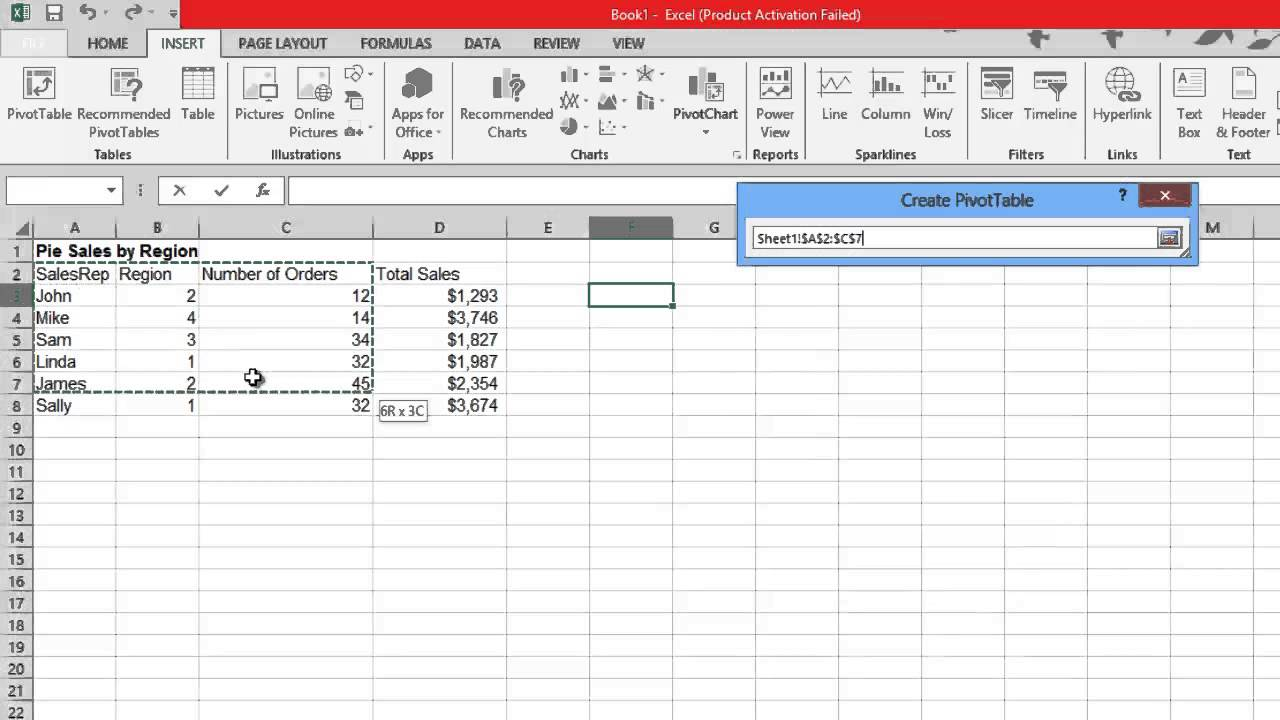 how to create pivot table in excel 2013 youtube