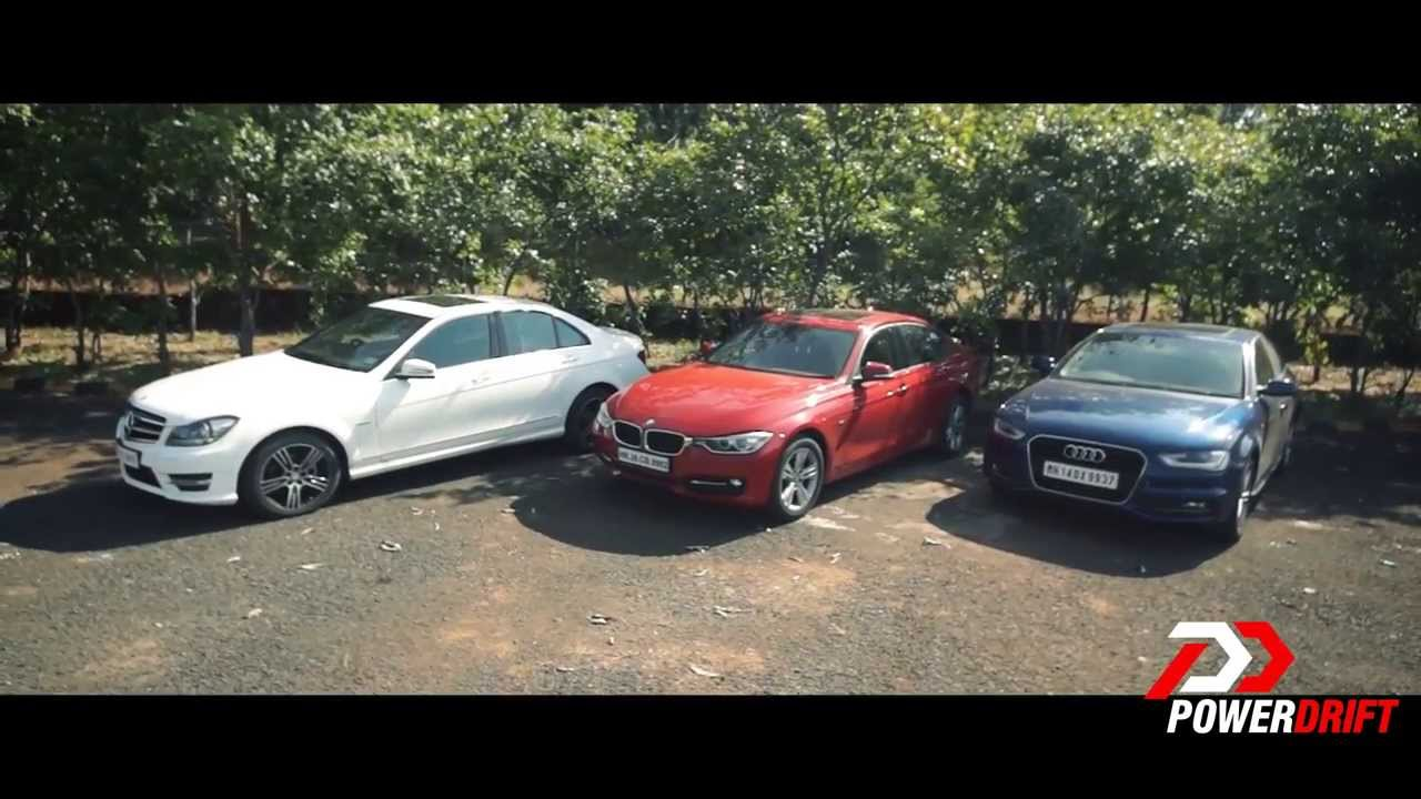audi a4 vs mercedes benz c class vs bmw 3 series review powerdrift youtube. Black Bedroom Furniture Sets. Home Design Ideas