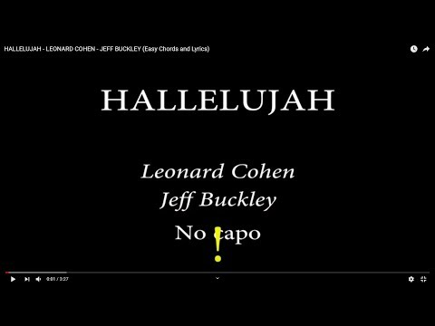 HALLELUJAH - LEONARD COHEN/JEFF BUCKLEY (easy Chords and Lyrics)