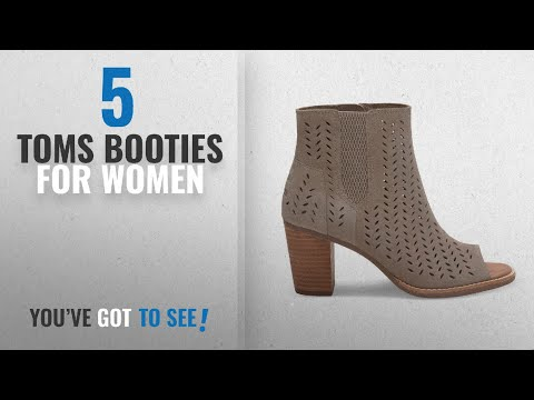 Top 5 Toms Booties For Women [2018]: Toms Taupe Suede Perforated Majorca Booties 10010014 (SIZE: