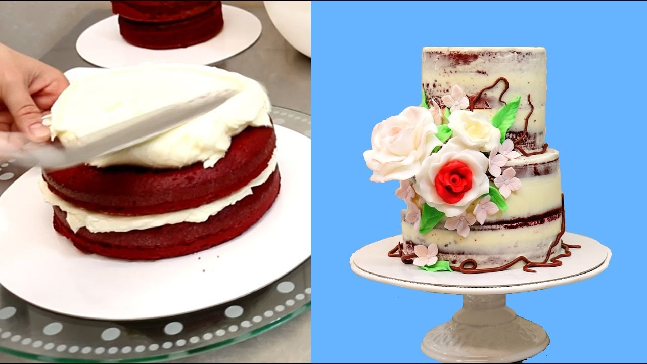 How To Decorate A Red Velvet Cake By Cakesstepbystep Youtube