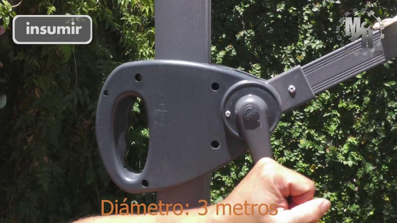 Sombrilla Lusqtoff Parante Lateral 3 m diametro - YouTube