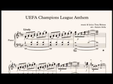 Partitura Himno UEFA Champions League Sheet Music Piano Liga de Campeones Anthem Tutorial