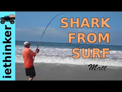 Fishing For Sharks From Surf In Southern California
