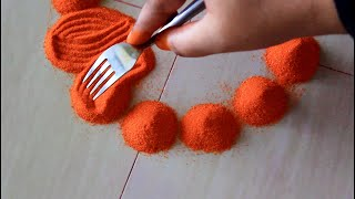 Simple rangoli design using fork l Rangoli for navratri l Diwali rangoli designs with colours
