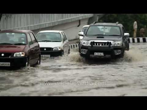 Flooded roads of Delhi in the monsoons
