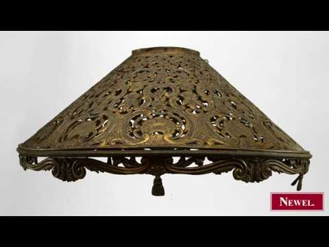 Antique American Victorian Brass Filigree Lamp Shade With