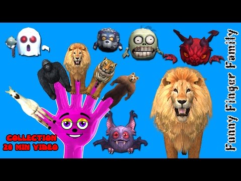 Lion,Tiger,Cheetah Finger Family 3d animals animated English rhymes Collection 20 Min video