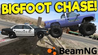 I TRIED TO ESCAPE THE POLICE WITH BIGFOOT! - BeamNG Drive Police Chases
