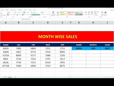 #90 MONTH WISE SALE USE INDEX & MATCH FORMULA IN HINDI