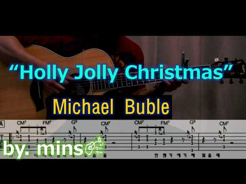 Guitar) Michael Buble - Holly Jolly Christmas (Guitar Solo & TAB) By Mins