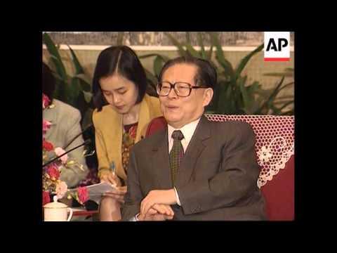 China - Singapore president meets Jiang Zemin