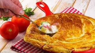 Sahne Hähnchen mit Blätterteigdecke - Rezept für ein Pfannengericht