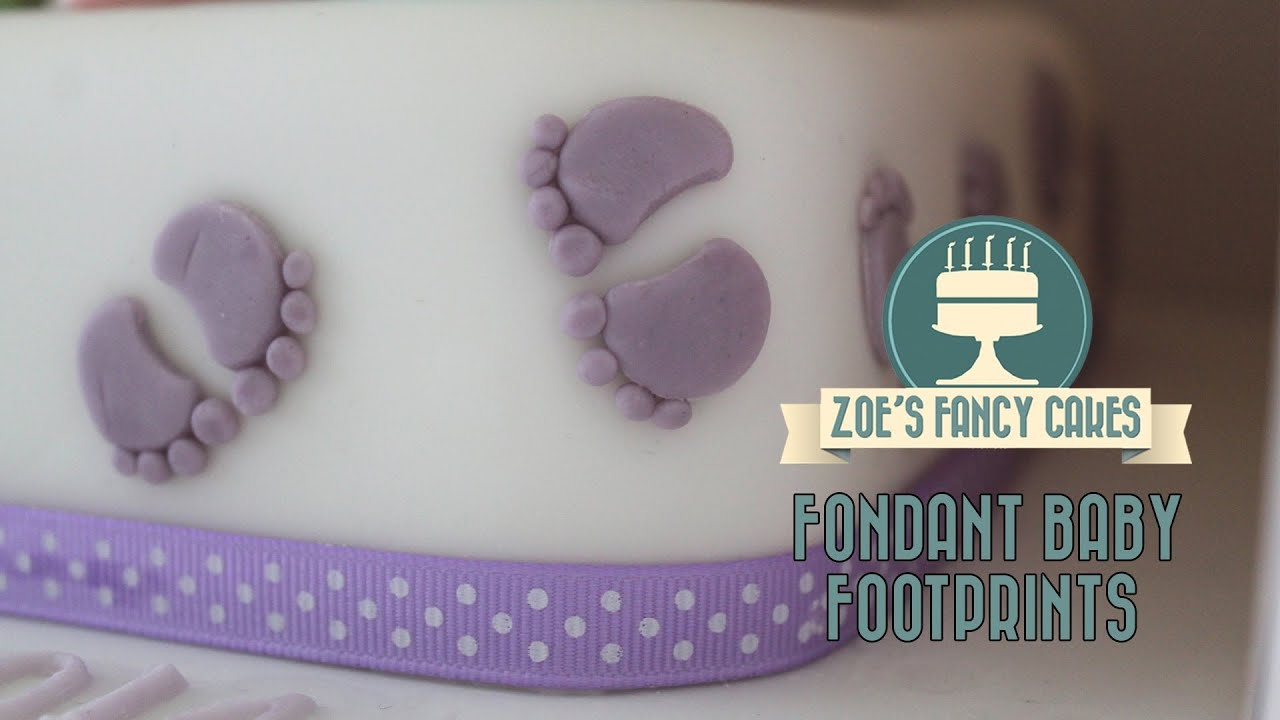 fondant baby footprints how to tutorial zoes fancy cakes ForBaby Footprints Cake Decoration