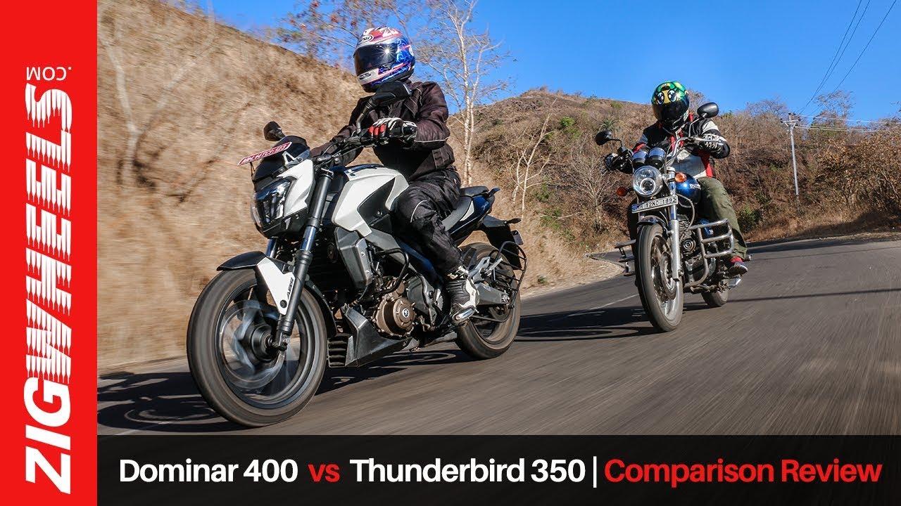 Bajaj Dominar 400 vs Royal Enfield Thunderbird 350 | Comparison Review|  ZigWheels com