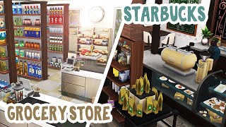 Starbucks \u0026 Grocery Store in Del Sol Valley || The Sims 4: Speed Build