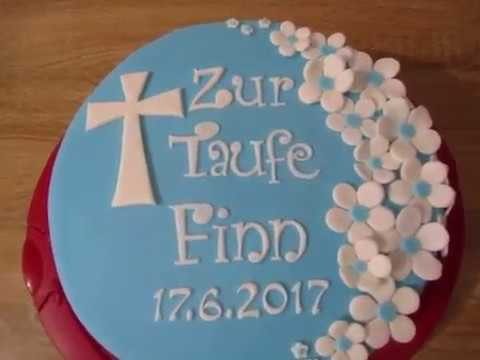 torte zur taufe tauf torte junge mit bl ten fondant youtube. Black Bedroom Furniture Sets. Home Design Ideas