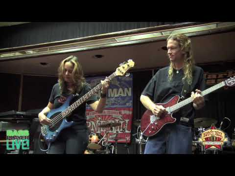 The Travis Larson Band performs at the Music Man booth at Bass Player Live